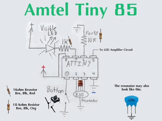 the amtel tiny 85 is the micro-controller used for this project  the  micro-controller must be programmed with the tv-b-gone firmware available  here